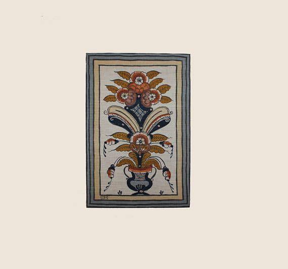 Amazing vintage folk art textile artwork: hand-printed framed