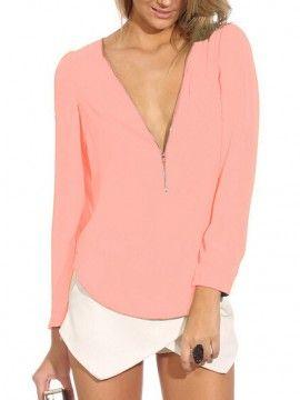 Pink Zipper Front Long Sleeve Chiffon Blouse