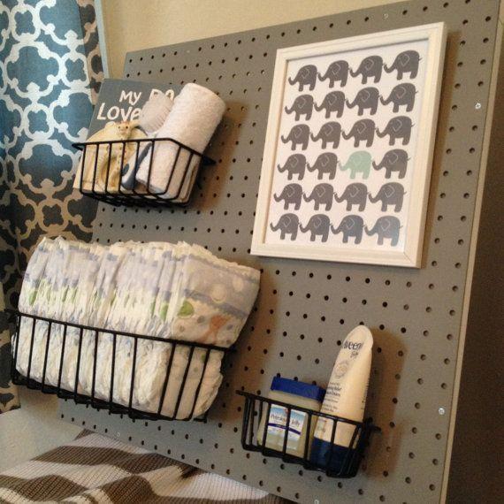 Peg Board Nursery Changing Table Organizer Grey