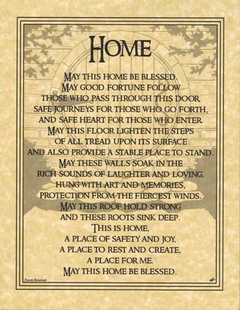 Home Blessing poster - AzureGreen I would write, 'A place for me and my loved ones'