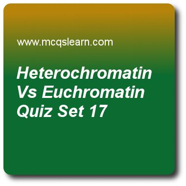 Heterochromatin Vs Euchromatin Quizzes:  MCAT Quiz 17 Questions and Answers - Practice heterochromatin vs euchromatin quiz with answers. Practice MCQs to test knowledge on, heterochromatin vs euchromatin, pentose phosphate pathway, mutation error in dna sequence, general function in cell containment, colligative properties: osmotic pressure quizzes. Online heterochromatin vs euchromatin worksheets has study guide as percentage of human genome to be euchromatic is, answer key with answers…