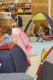 Literacy Camp Day…what a great idea for any elementary grade! She had different tents for fiction, nonfiction, etc. Love this idea!