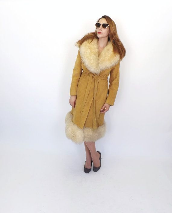Iconic Vintage 1970s 60s Tan Suede Leather Shearling Fur TRENCH COAT Belted JACKET Outerwear Winter Jacket Hippie Boho Fur Coat Boho Jacket
