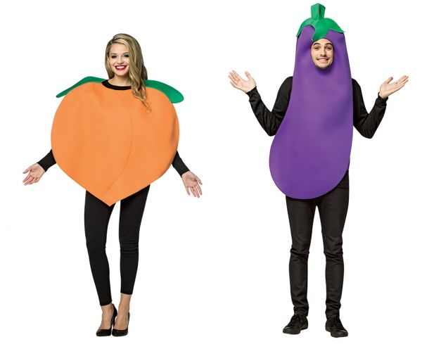 Adult size Emoji Costumes - Peach or Eggplant - Couple or Single - Foodie  Now you can be a life sized emoji, all innuendos intended!  Eggplant  This funny costume includes printed tunic that looks just like purple eggplant. Tunic is made from a foam-backed polyester fabric.  Peach  We like big peaches and we cannot lie!  Join your buddies the cucumber and eggplant for an innuendo filled evening! This funny adult costume includes a big, round orange poly-foam tunic with attached green…