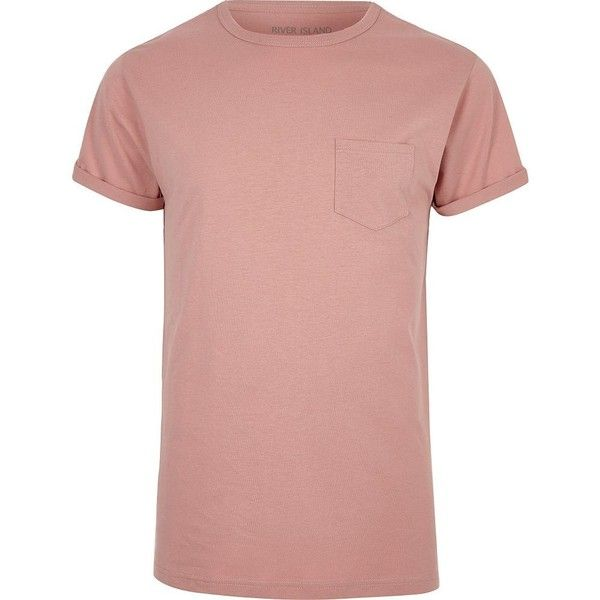 River Island Light pink roll sleeve T-shirt ($11) ❤ liked on Polyvore featuring men's fashion, men's clothing, men's shirts, men's t-shirts, pink, mens crew neck shirts, mens pink t shirt, mens roll sleeve shirt, river island mens shirts and men's regular fit shirts