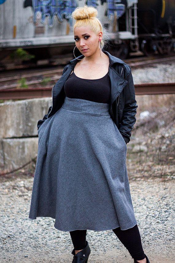 Plus Size Swing Skirt / Women plus size High by aconversationpiece