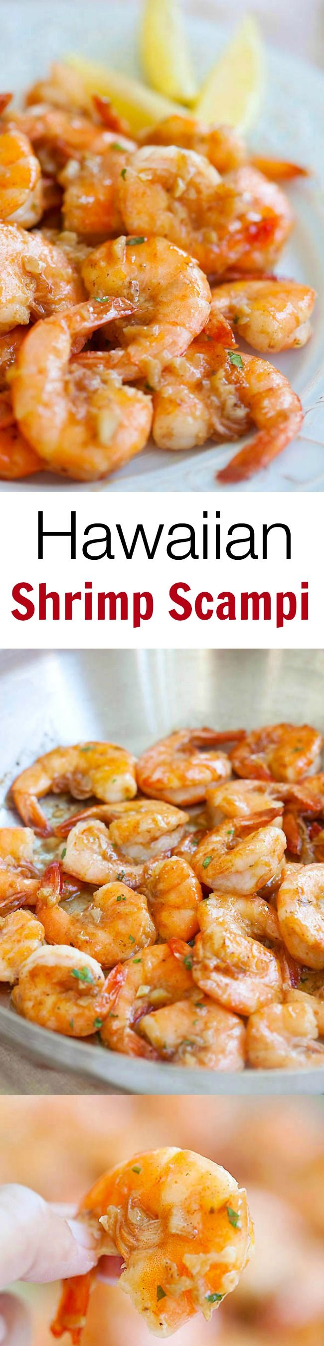 Hawaiian Shrimp Scampi #recipe... super buttery and garlicky, copycat of Giovanni's shrimp truck.  Bring Hawaii home with this super easy recipe | rasamalaysia.com