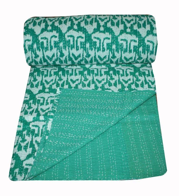 Ikat Print Kantha Quilt king Bedspread Cotton Blanket Bedding Sofa Throw #Unbranded #ArtDecoStyle