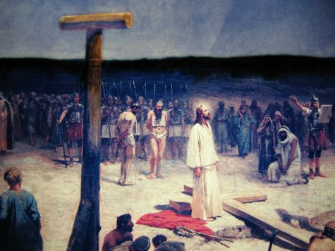 """Close Up of """"The Crucifixion"""" at Forest Lawn - The masterpiece of noted Polish artist Jan Styka, The Crucifixion is the largest framed mounted to canvas painting in the world, standing 195' long by 45' high."""
