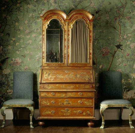Early eighteenth-century English Japanned bureau and chairs set against Chinese wallpaper, in the State Bedroom at Erddig, Wrexham. ©NTPL/Andreas von Einsiedel