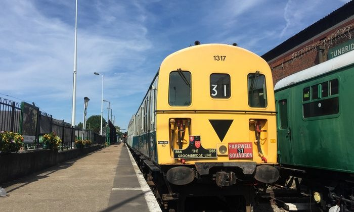 Passengers travel from Tunbridge Wells to Groombridge or Eridge and back, and admire locomotives and engines displayed at the station