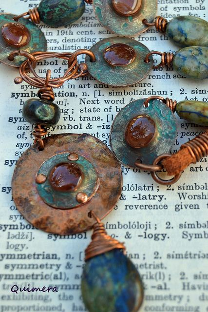 Carla J of Quimera Designs made this lovely necklace out of handmade copper washers filled with ICE Resin