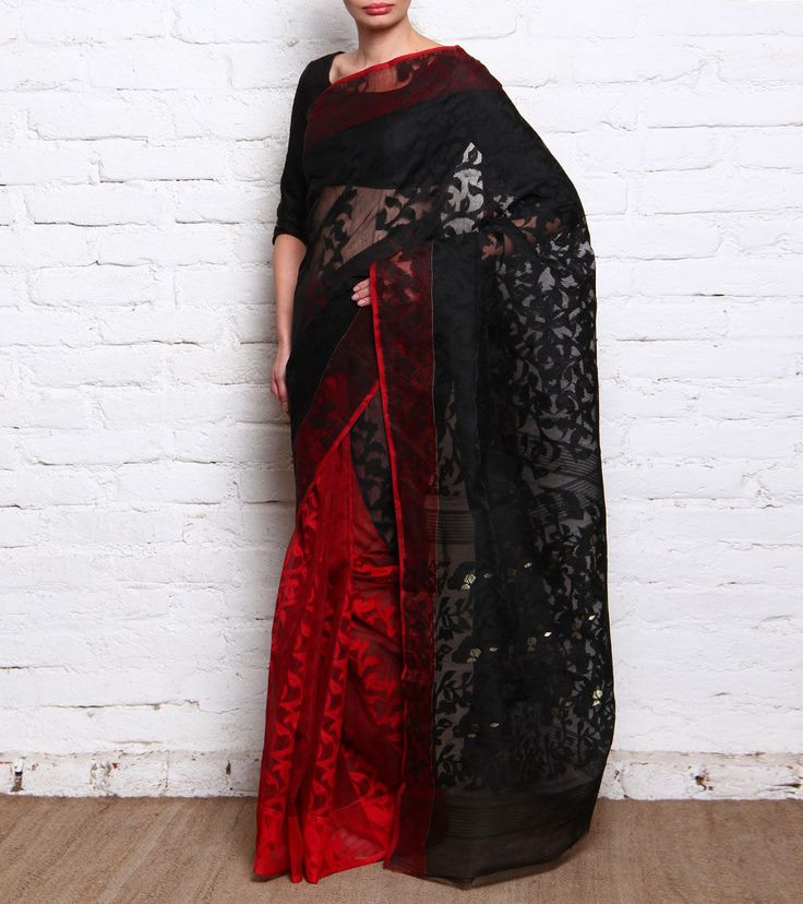 Red And Black #Cotton Jamdani #Saree