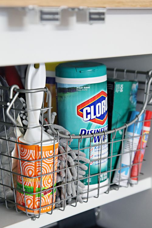 cleaning supply basket---IHeart Organizing: Back To School: Dorm Room Organization Tips