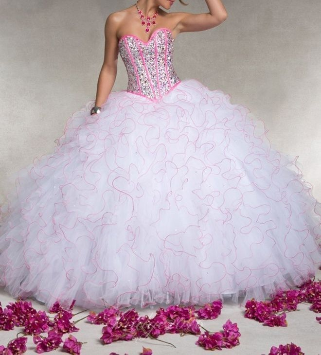 2014 White+Pink Beaded Ball Gown Quinceanera Prom Pageant Party Wedding Dresses #Handmade #BallGown #Formal