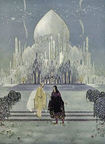 "Virginia Frances Sterrett  ""They walked side by side during the rest of the evening"" from Old French Fairy Tales."