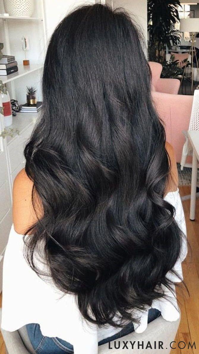 Clip In Hair Extensions Jet Black Color 1 220 Grams In 2020 Long Hair Styles Luxy Hair Extensions Jet Black Hair