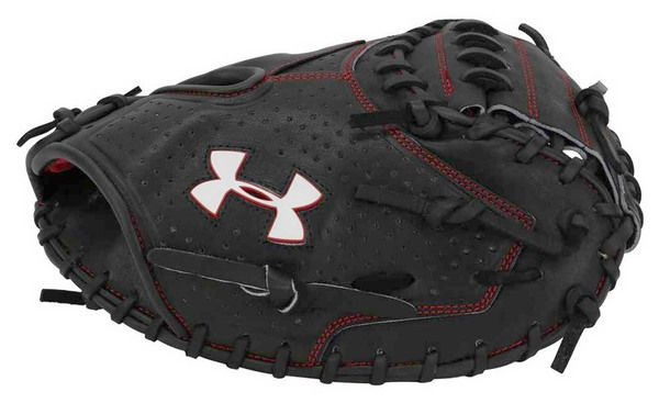"Under Armour ADULT Pro Series 34"""" Catchers Baseball Mitt, Black/Red. UACM-PRO1"