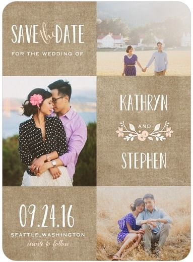 Wreathed in Love - Signature White Photo Save the Date Cards - Lady Jae…