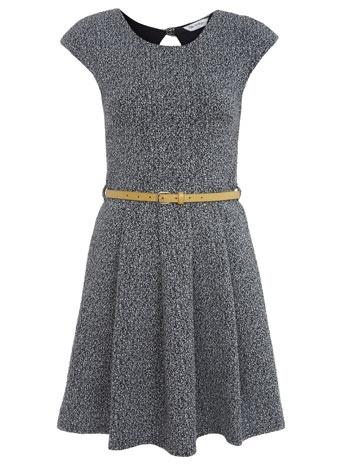 Textured Belted Skater Dress - Miss Selfridge US - StyleSays