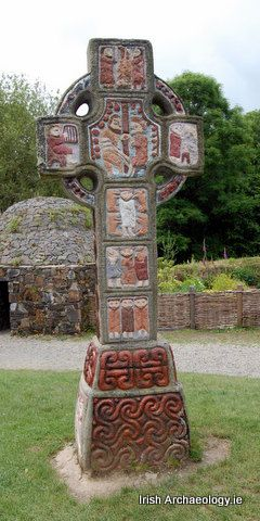 painted high cross - Irish National Heritage Park