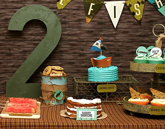 Boy's fishing themed birthday party! This will be my little boy if he's anything like his daddy!