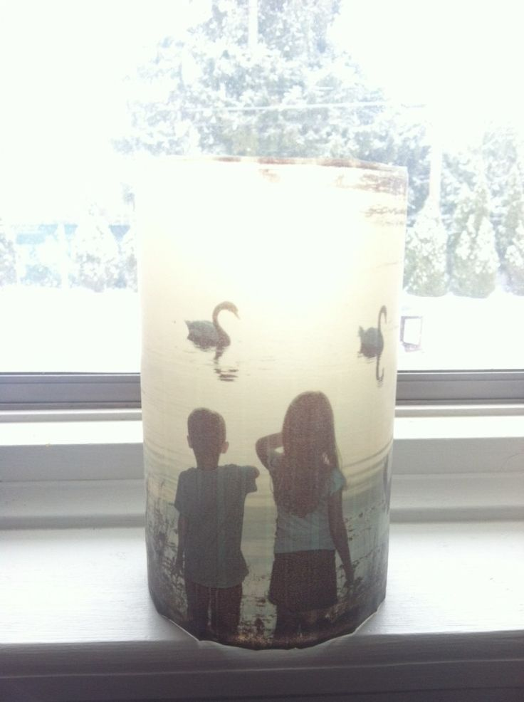 pictures glued to glass jars
