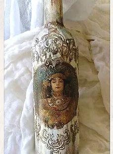 Χειροποίητα μπουκάλια για την επιτραπέζια διακόσμηση του σπιτιού, φτιαγμένα με την Τέχνη του Decoupage και άλλων τεχνικών ζωγραφικής...