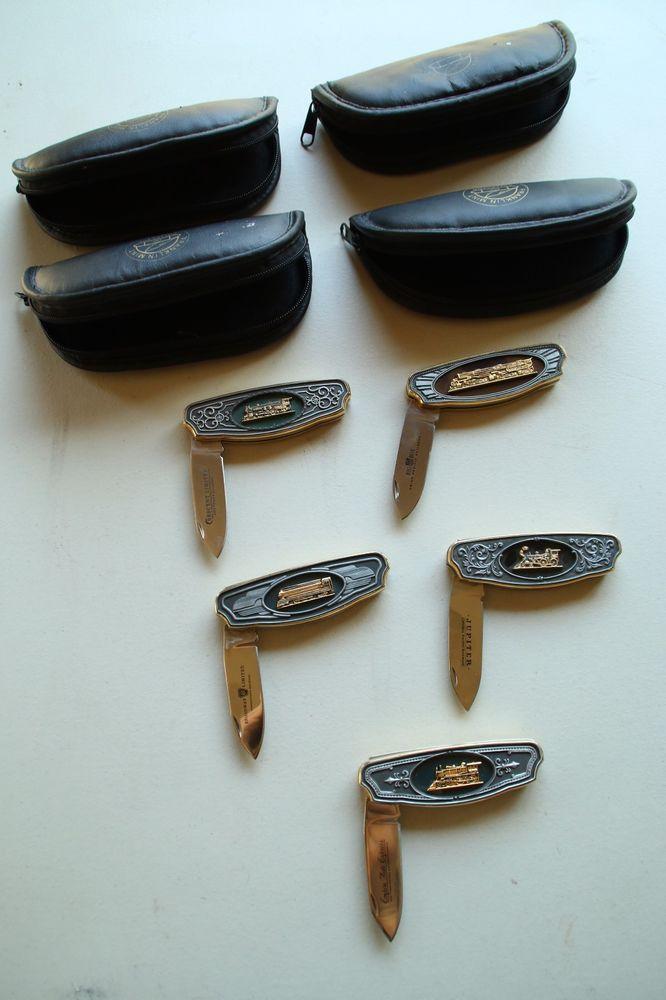 Franklin Mint Legend of the Railroad Locomotive Collector Knife set of 5 Knives  | eBay