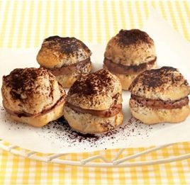 Chocolate Filled Profiteroles. Just use 1 pack of White Wings Profiteroles and add eggs, water, cream and milk - it's as easy as that! Click on the image to view the full recipe - White Wings