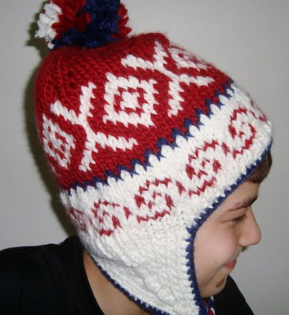 Hand Knit Hat Womens Hat Earflap Hat in Red Cream by earflaphats