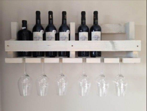 Steigerhouten wijnrek white wash