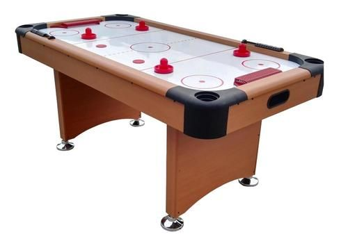 6' x 3' Brown White and Red Recreational Air Hockey Game Table