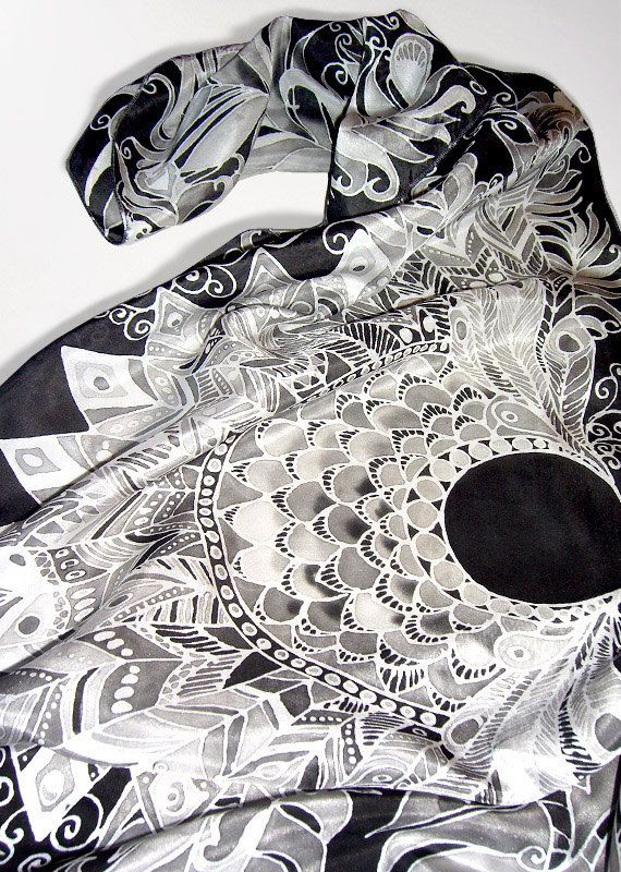 Black scarf Feathers  long silk scarf  hand painted by MinkuLUL, $65.00