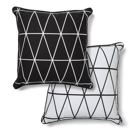 Monochrome Geo Print Cushion - Black & White $10.00 - Kmart These are going to go on the couch. aqua, charcoal, black, white = perfect <3