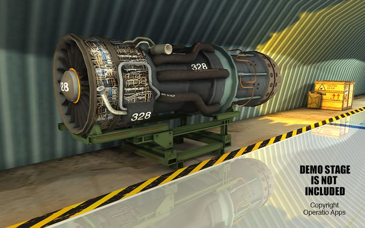 Military Jet Engine with Stand