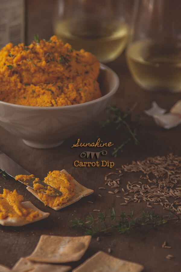 Sunshine Carrot Dip Recipe - this beautiful dip will bring sunshine to even the cloudiest day. Sweet carrots, honey, feta and herbs make this vegetarian dip wonderful whatever the weather. | Get the recipe at DeliciousEveryday.com