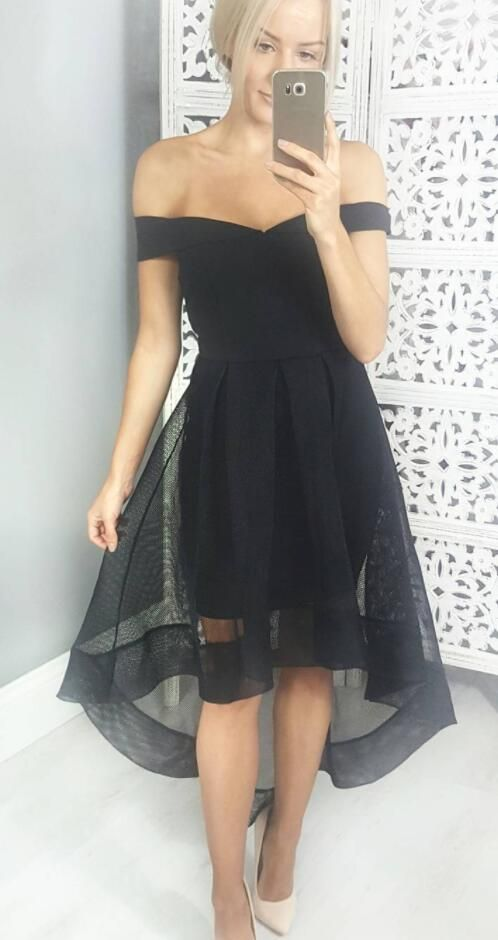 off the shoulder high low black homecoming dress, 2017 homecoming dress, short homecoming dress, party dress