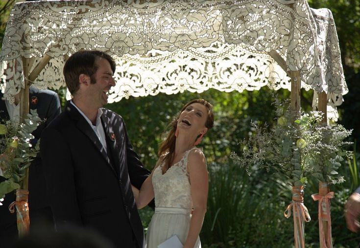 Such joy under grandmother's lace canopy for our wedding