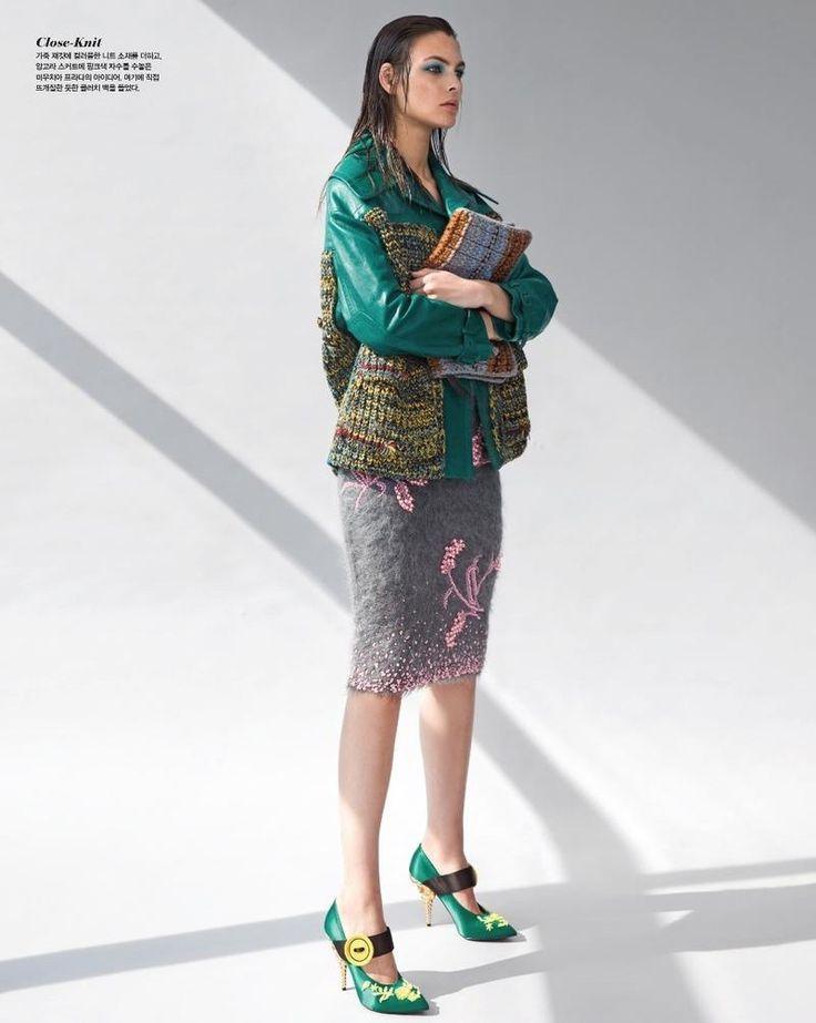 Vittoria Ceretti Looks Pretty in Prada Fashion for Vogue Korea