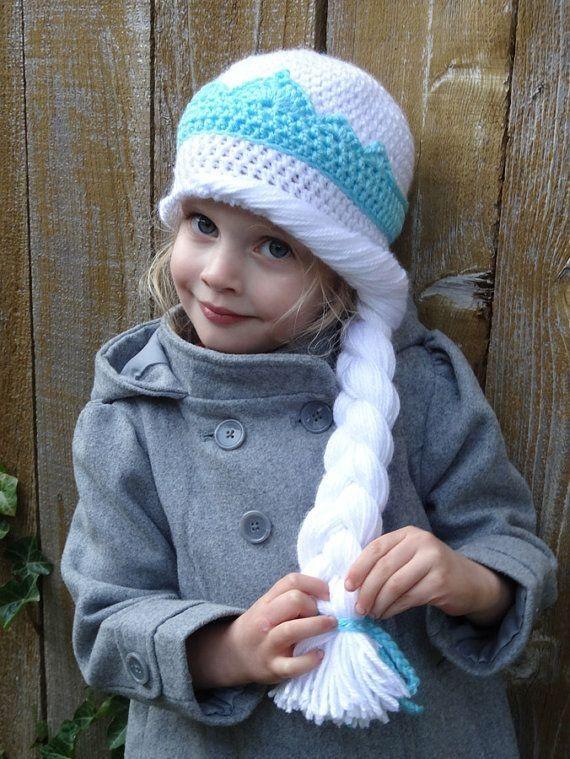 Coronation Crochet Hat Pattern With Long Braid Inspired by Frozen Elsa - Crown Hat