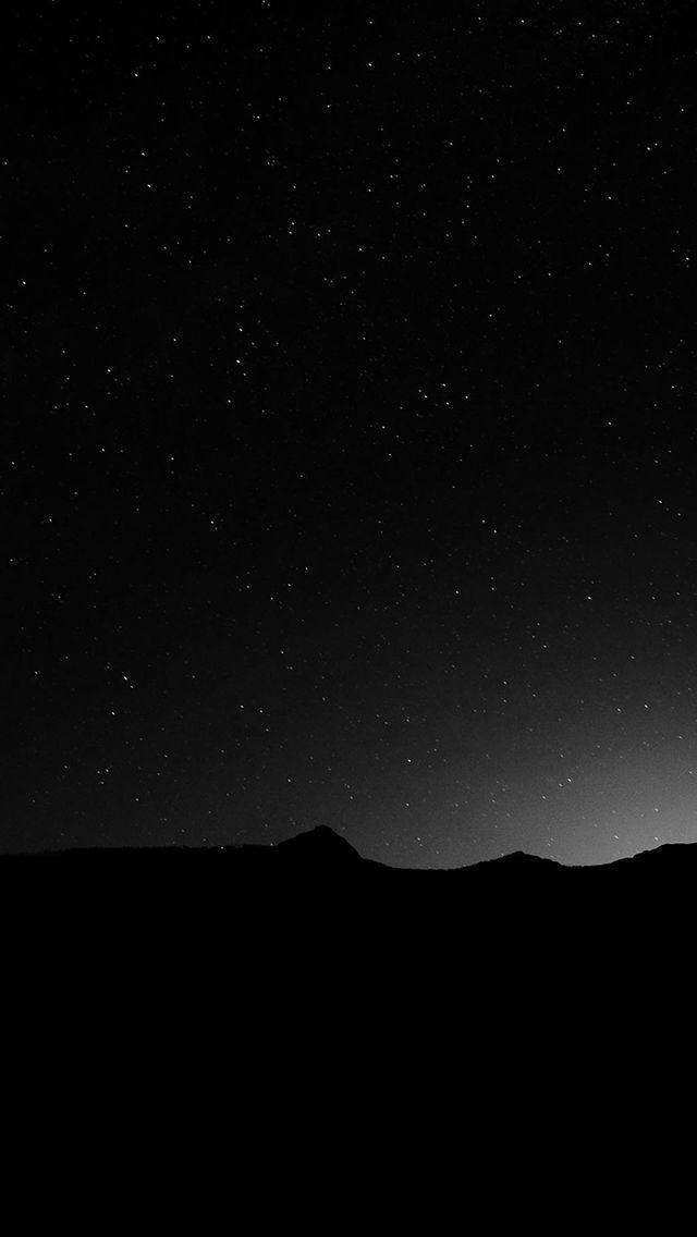 Dark Night Sky Silent Wide Mountain Star Shining iPhone