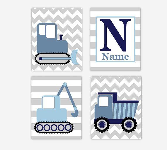 Construction Trucks Baby Nursery Wall Art Dump Truck Bulldozer