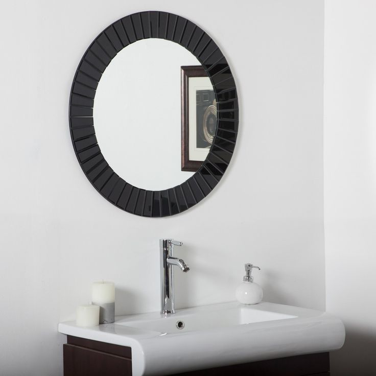 Stunning Have to have it. Glow Modern Black Frameless Wall Mirror - 28 in. diam. - $178 @hayneedle