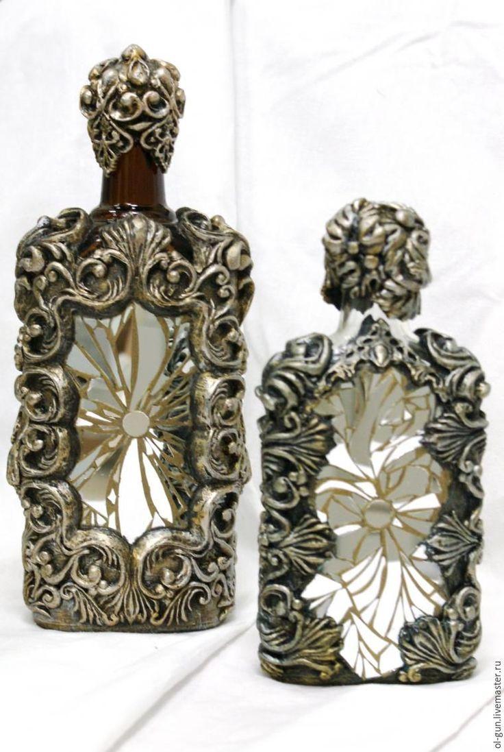Мастер-класс: декор бутылки зеркальной мозаикой и эпоксидной смолой