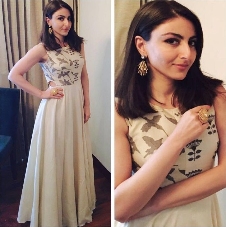 Glam Gal - Soha Ali Khan Glam Point - FICCI Event in Indore Glam Check - A pretty summer Label Anushree dress with gold detailing and cutouts at the waist, Vasundhra earrings and a statement gold ring. Glam Tip - Flaunt your pretty waistline with a cutout dress! -Your Glam Pal, Srishti