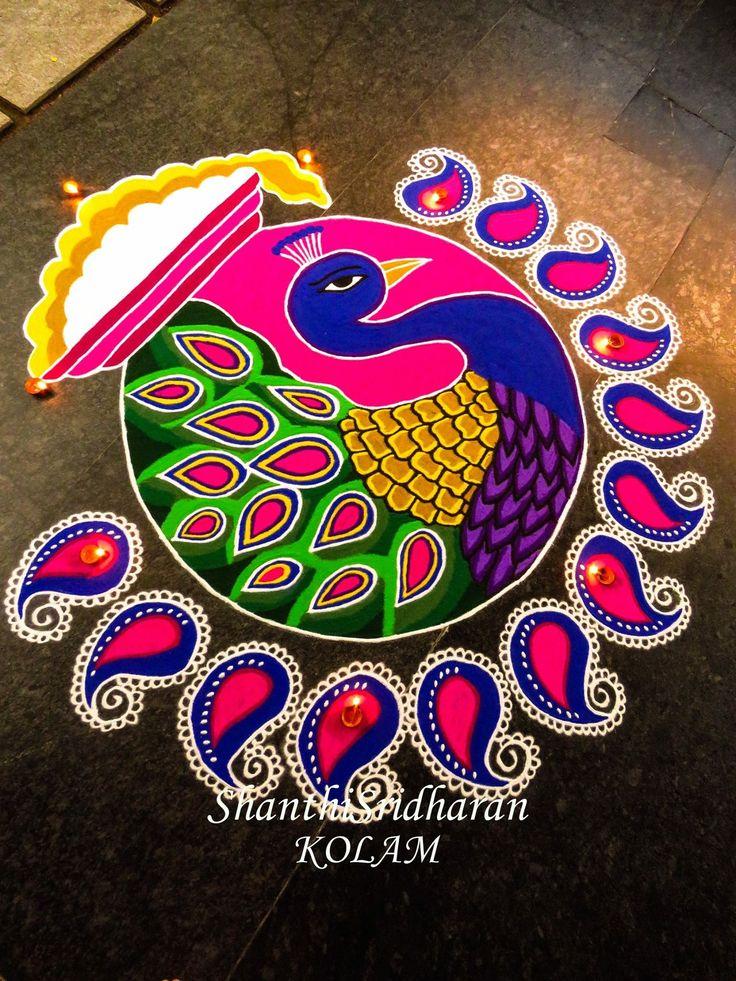 #pongal kolam#mandala#peacock#kolam#paisley#pink#blue#yellow#pongalpannai#pongal pot