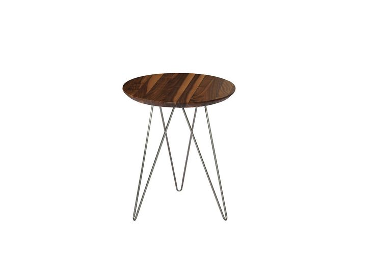 Solo solid walnut top table with stainless steel legs. Also available with a gold finish, black base or white. #designannex #sidetable #design #furniture