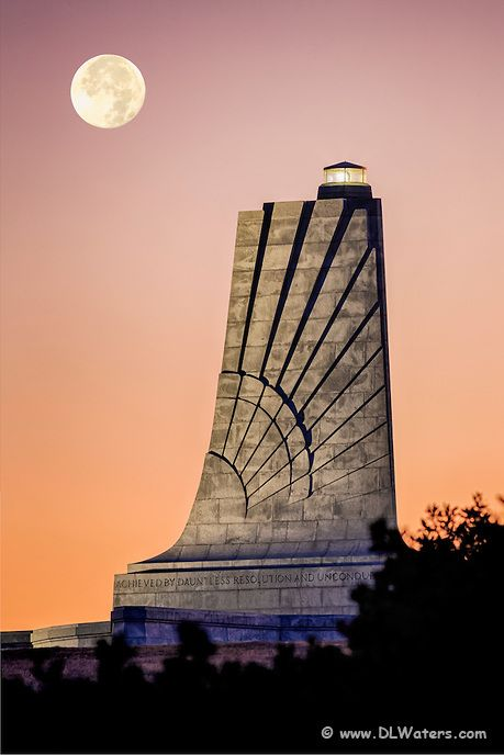 Moon over the Wright Brothers Memorial before sunrise on the Outer Banks, NC. Click through to see more photographs of the Wright Brothers Memorial.
