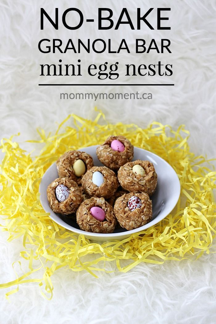 These easy NO BAKE GRANOLA BAR MINI EGG NESTS are so quick to make and are a hit with the kids. They make an adorable Easter snack too